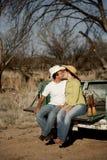 Bacio del cowboy Immagini Stock
