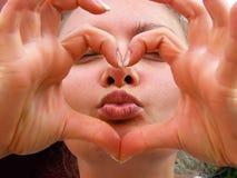 Bacio del cuore Fotografie Stock Libere da Diritti