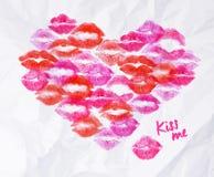 Bacio del rossetto del cuore Fotografie Stock