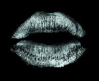 Bacio del rossetto isolato sul nero Immagine Stock