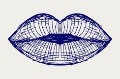 Bacio della bocca dell'orlo della donna illustrazione di stock