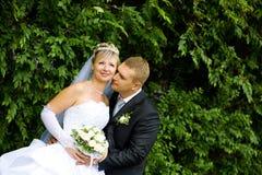 Bacio della sposa e dello sposo Fotografia Stock Libera da Diritti