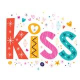 Bacio di parola che segna testo con lettere decorativo Fotografia Stock