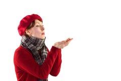 Bacio di salto della donna dalle mani Fotografia Stock Libera da Diritti