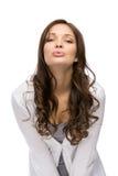 Bacio di salto della ragazza Fotografia Stock Libera da Diritti