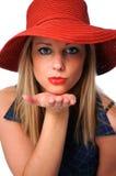 Bacio di salto della ragazza Fotografie Stock Libere da Diritti