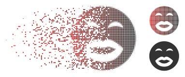 Bacio di semitono decomposto Smiley Icon del pixel illustrazione di stock