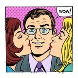 Bacio femminile maschio di gioia di successo di amore Fotografie Stock