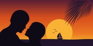 Bacio romantico al tramonto sulla spiaggia illustrazione vettoriale