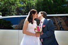 Bacio romantico della sposa e dello sposo Immagini Stock