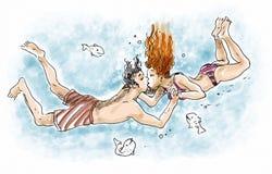 Bacio subacqueo Fotografia Stock