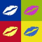Bacio Vectored del rossetto retro Immagini Stock Libere da Diritti