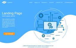 Digital technology landing page vector template stock illustration