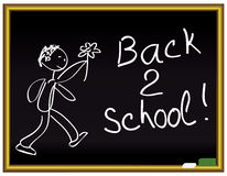Back 2 school message on a chalkboard. Back to school message on a chalkboard  illustration Stock Photography