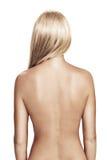 Back. View of nice young wonam back on white back Stock Image