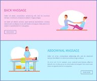 Back and Abdominal Massage Therapy Set Vector. Back and abdominal massage therapy and treatment of body. Set of posters with text sample, massaging masseuses royalty free illustration