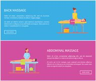 Back and Abdominal Massage Therapy Posters Vector. Back and abdominal massage therapy techniques. Posters set with text sample, male relaxing and woman massaging vector illustration