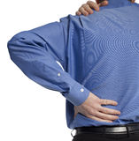 Back ache. Close-up of man in blue shirt with sore aching back Royalty Free Stock Images