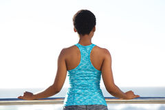 Back of african american woman looking out at sea Royalty Free Stock Images