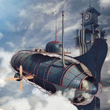 Back of an aircraft. The back of an aircraft and the clock tower in the clouds royalty free illustration