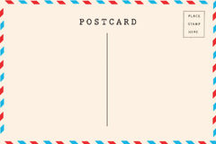 Back of airmail blank postcard. Back of old airmail blank postcard for written royalty free stock images