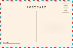 Back of airmail blank postcard. Stock Photo