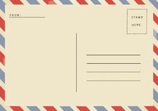 Back of airmail blank postcard. Back side of airmail blank postcard Royalty Free Stock Images