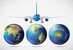 Back of airplane flying over the earth Royalty Free Stock Image