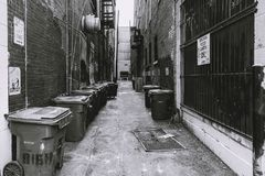 Back Alley with Garbage Cans. Garbage and recycling cans are lined up in a back alley of Louisville KY royalty free stock images