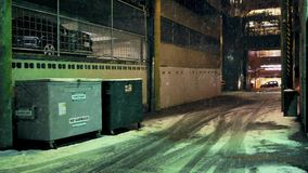 Back Alley At Night With Snow Falling stock footage
