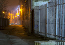 Back alley. A shot of an old back alley in Yorkshire at night Royalty Free Stock Photo