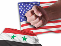 We are Back. America is back and very strong agains Syrian flag Royalty Free Stock Images