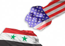 We are Back. America is back and very strong against Syrian flag Stock Photo