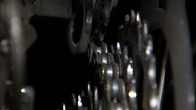 Back angle of bike gears stock video footage