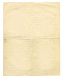 Back of antique unfolded letter. Very old sheet of vintage paper with creases royalty free stock photography