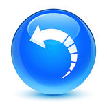 Back arrow icon glassy cyan blue round button Royalty Free Stock Photo