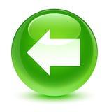 Back arrow icon glassy green round button Royalty Free Stock Photos