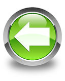 Back arrow icon glossy green round button Stock Image