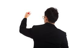 Back of Asian businessman write with red marker Stock Photography