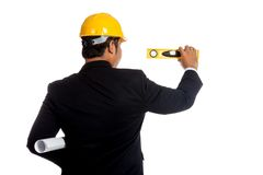 Back of Asian engineer man measuring with a level Stock Photography