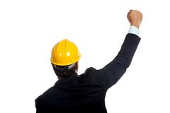 Back of Asian engineer man rise his fist up for su Royalty Free Stock Photography
