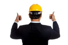 Back of Asian engineer man show thumbs up with bot Royalty Free Stock Images