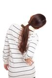 Back of Asian girl with scarf got back pain Stock Image