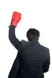 Back of Asian man wear boxing glove raise hand up Stock Images