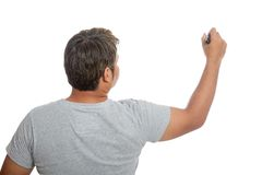 Back of Asian strong man write in the air Royalty Free Stock Image