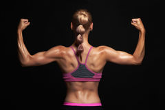 Back of athletic girl. gym concept. muscular fitness woman, trained female body. Healthy lifestyle. dope topic royalty free stock images