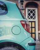 Back of azure car. Picture was made in Amsterdam Royalty Free Stock Image