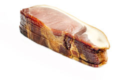 Back Bacon. Britiish back bacon joint with slices. Highly detailed texture int he slice stock images