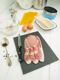 Back bacon with ingredients for spaghetti carbonara Royalty Free Stock Photos