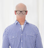 Back of a bald head with glasses Royalty Free Stock Photo